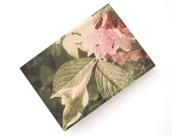 Pink Weigela Flower, Wordsworth Quote - Blank 4x5.5 Notecard Single or Set of 4 - Pink Green Floral Gardening Mothers Day
