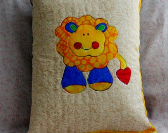 Throw Pillow for Kids - Lion Applique in Primary Colors