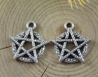 4 on a circle, antique silver pentacle pendants
