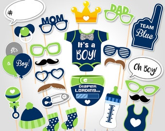 Printable Baby Shower Photo Props - Baby Boy Photo Booth Props - Printable Baby Shower Photobooth Props - Printable Party Props