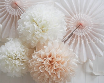 100 Tissue paper poms .. Wedding Reception Decoration .. Custom Colors