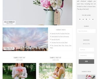 wordpress theme - hermosa ave - mobile responsive wordpress blog template with custom colors, shop, and portfolio - INSTANT DOWNLOAD