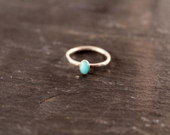 Amazonite Thick Oval Gemstone Stacking Ring (Sterling Silver Aqua Ring Bridesmaid Gifts For Her Under 50)