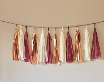 Burgundy, Rose Gold, Cream  Tassel Garland. Baby Shower Decorations. Wedding Decor. Bachelorette Party. Tissue Paper Garland. Paper Rabbit.