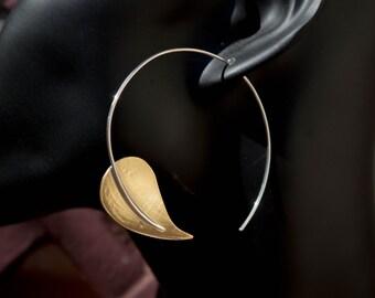 Leaf hoop earrings, Brass hoop earrings, Sterling silver leaf earrings,cotemporary earrings, Modern earrings ,Minimalist earrings , Big hoop