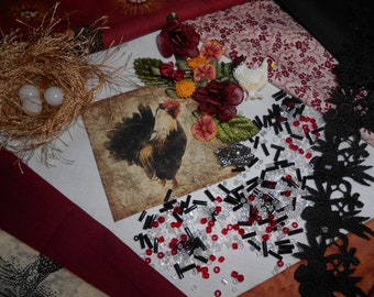 """Crazy Quilting Kit with Embellishments  """"Rooster in the Barnyard"""""""