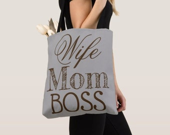 WIFE MOM BOSS luxury tote bag