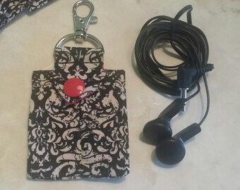 Earbud Pouch/Earbud Case-Black n' Cream Paisley