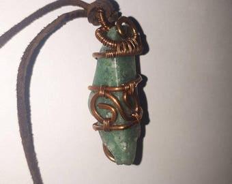 Copper Pendant with stone In steampunk technique