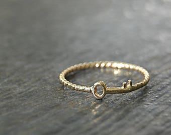 Solid 14k Gold Skeleton Key Stacking Ring, Twisted 14k gold ring, Stacking Ring, delicate solid gold ring, 14k Solid Gold Novelty Ring