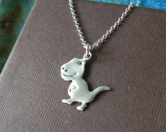 T-Rex Dinosaur sterling silver charm necklace Dino necklace Gift for her