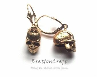 Gold Skull Earrings - Skull Earrings - Halloween Earrings - Day of the Dead - Halloween Jewelry - Skull Jewelry - Samhain