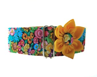 Martingale Dog Collar Easter Martingale Collar Matching Dog Collar Flower, Floral Martingale Collar, Floral Dog Collar Dog Collar and Flower