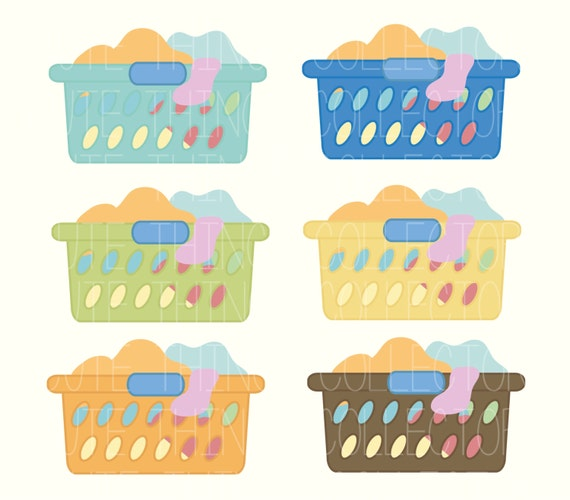 laundry basket clipart. SALE Cute Laundry Basket Day Clothes Clip Art Digital Scrapbook Planner Sticker Instant Download Printable Invitation Card PNG Clipart