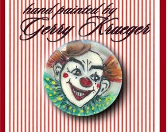 Hand painted    Button - Circus Clown