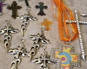 Large Lot of Cross Pendants, Assorted Cross Lot, Christian, Religious Pendants, Wearable, Repurpose, Retro, Stainless, Rhinestone Designs