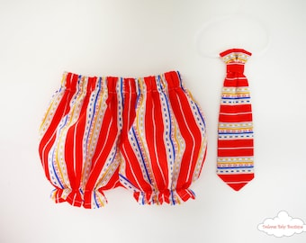 Red Baby Bloomers~ Baby boy Tie~ Boy Bloomers~ Red baby Tie~ Stripes Baby Pants~ Cotton baby set~ Baby shower~ Baby Party~ 1st Baby birthday