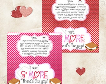 S'mores Valentine Themed Treat Bag Topper - Printable File