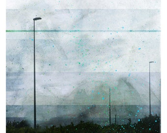Reverbere (Nature Photography - Fine Art Print - Street Lamp - Road  - City - Urban - Lines - Painting - Blue)