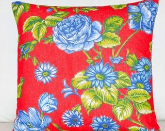 Red Chita Pillow Cover   20x20 Pillow   Floral Pillow   Red Pillow   Blue Pillow   Boho Pillow   Rustic Pillow   Decorative Pillow