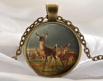 Deer Necklace - Animal Art Pendant - Vintage Bronze Jewelry Art Gift for Her - Deer and Fawn Picture