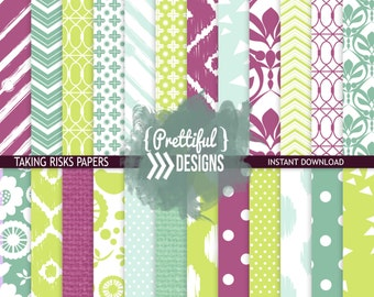 Digital Scrapbook Paper Pack Summer Colors Purple, Teal, Lime