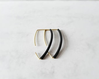 Small Black triangle style rubber  earrings
