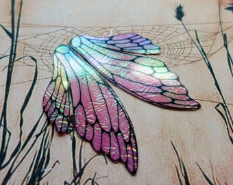 Mauve Pink Fairy Wings, Faerie Wings, Iridescent Wings, Hand Painted Wings, Boho Woodland, Creativity, Crafting, Dolls Wings, Cards, Jewelry