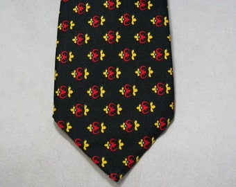 70s Christian Dior Tie - Mens 1970s Designer Necktie - Fine Black Silk - Red Crest Motif - Heraldry Inspired - Black Blue Yellow - 45153