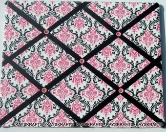 Black Pink on White Damask Memory Board French Memo Board,Fabric Ribbon Bulletin Board, Ribbon Photo Board, Bedroom Decor
