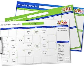Individual Dry/Erase Calendar For Older Kids (No Stickers)