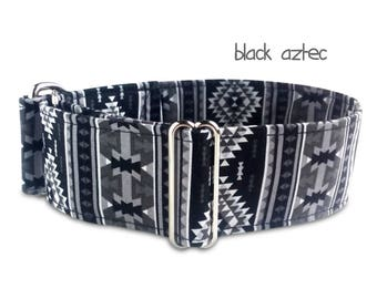 tribal dog collar, black dog collar, boy dog collar, black martingale, aztec dog collar, stripes, wide buckle collar, greyhound, black aztec
