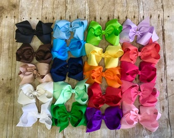 Large hair bow set, 6 inch bow set, set of 20 bows