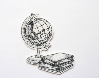 Embroidery of a world globe and books badge patch embroidered patch
