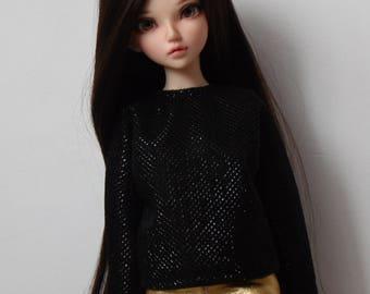Black shiny batwing blouse for minifee and similar slim msd dolls