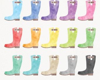 Watercolor Rain Boots Clipart, Gardening Boots Clipart