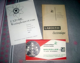 VINTAGE 1958 COLLECTIBLE * 3 booklets world expo Brussels