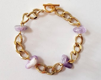 Amethyst Gemstones & Gold Chain Statement Bracelet