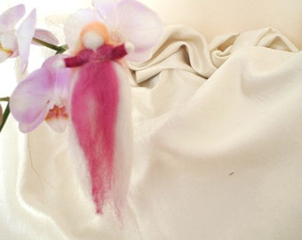 Wool fairy RED VIOLET art doll, needle felted soft sculpture doll