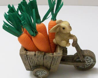 Bunny driving a Garden cart with a load of carrots: Mini wood look garden wagon polymer clay carrots
