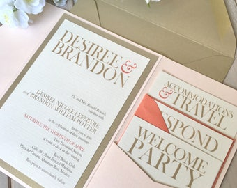 Beach Wedding Invitations, Summer Wedding, Blush Wedding, Blush Pocket Invitations, Coral Wedding Invitations, Modern Invitations