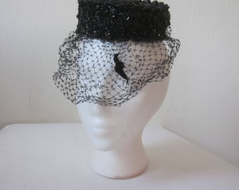 1960s Black Sequinned Pillbox Hat with Veil