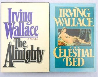 Irving Wallace The Celestial Bed and The Almighty Pair of Vintage Hardcover Books