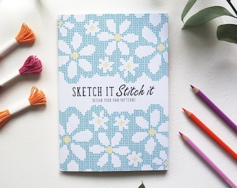 A5 Sketch it Stitch it book (Blue) - Design your own crafty patterns!