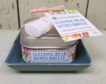 Sleeping Bear Dunes Breeze Candle & Lip Dish Kit-  Green Daffodil
