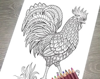 """Printable Coloring Page JPG - Adult Colouring Page, Instant Download only, Art Printable illustrations - """"Magic Totem"""" - Cock"""
