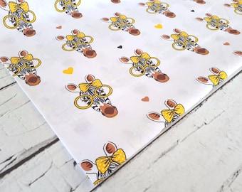 Cotton Fabric, Quilting Print  Fabric,Zebra Fabric,Zebra With Glasses,Dog Fabric,Funny Fabric ,Fabric by the Yard-Half Yard