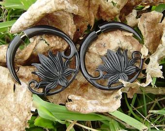 Fake gauge earrings,Organic Black Horn ,tribal style, Split Gauge Earrings Fancy Lotus earrings
