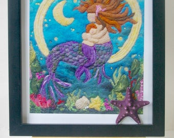 """Mermaid Mother and Child Fiber Art: Quality Art Print of 'The Siren's Lullaby' (8 x 10"""" Felted Wool and Silk)"""