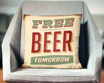 Beer Gifts | Beer Decor | Beer Art | Beer Pillow | Gift For Him | College Dorm Decor | Dorm Room Decor | Vintage Decor | Industrial Decor